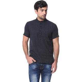 Abhiyuthan Dobby Black Casual Short Kurta for Men