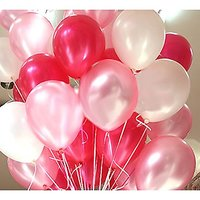Balloon Junction Metallic HD balloons tri-color White+ red + pink (pack of 51)