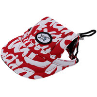 Magideal Small Pet Dog Cat Kitten Letter Baseball Hat Neck Strap Cap Sunbonnet M Red