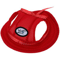 Magideal Pet Dog Cat Kitten Princess Mesh Strap Hat Cap Sunbonnet Size M - Red