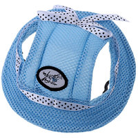Magideal Pet Dog Cat Kitten Princess Mesh Strap Hat Cap Sunbonnet Size M - Blue