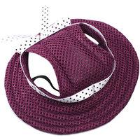 Magideal Pet Dog Cat Kitten Princess Mesh Strap Hat Cap Sunbonnet Size M - Purple