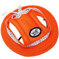 Magideal Pet Dog Cat Kitten Princess Mesh Strap Hat Cap Sunbonnet Size M - Orange