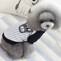 Magideal Cute Pet Dog Puppy Cat Striped T Shirt Clothes Baseball Style Gift Grey Xl