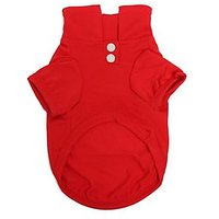 Magideal Pet Dog Polo T-Shirt Puppy Apparel Doggy Clothes Solid-Colored Outfit Red-M