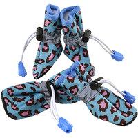 Magideal 4Pcs Pet Dog Cat Anti-Slip Waterproof Shoes Leopard Print Boots Blue 6#