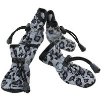 Magideal 4Pcs Pet Dog Cat Anti-Slip Waterproof Shoes Leopard Print Boots Black 3#
