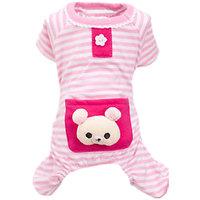 Magideal Pet Dog Cat Puppy Soft Striped Pajamas Jumpsuit Coat Clothes Apparel Pink S