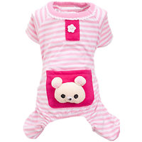 Magideal Pet Dog Cat Puppy Soft Striped Pajamas Jumpsuit Coat Clothes Apparel Pink M