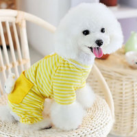 Magideal Pet Dog Cat Puppy Soft Striped Pajamas Jumpsuit Coat Clothes Apparel Ylw Xl