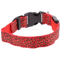 Magideal Leopard Led Collar Pet Dog Puppy Cat Light Night Flashing Safety Red M