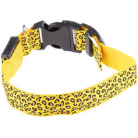 Magideal Leopard Led Collar Pet Dog Puppy Cat Light Night Flashing Safety Yellow S