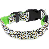 Magideal Leopard Led Collar Pet Dog Puppy Cat Light Night Flashing Safety Green S