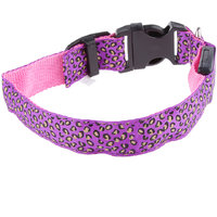 Magideal Leopard Led Collar Pet Dog Puppy Cat Light Night Flashing Safety Pink S