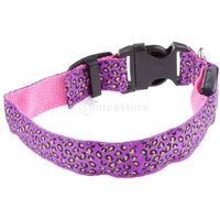 Magideal Leopard Led Collar Pet Dog Puppy Cat Light Night Flashing Safety Pink M