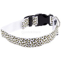 Magideal Leopard Led Collar Pet Dog Puppy Cat Light Night Flashing Safety Colorful L