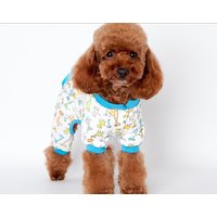 Magideal Pet Dog Puppy Cotton Clothes Soft Pajamas Cartoon Jumpsuit Apparel Blue L