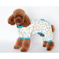 Magideal Pet Dog Puppy Cotton Clothes Soft Pajamas Cartoon Jumpsuit Apparel Blue Xl