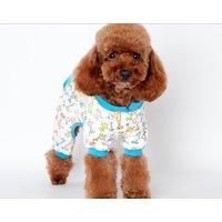 Magideal Pet Dog Puppy Cotton Clothes Soft Pajamas Cartoon Jumpsuit Apparel Blue Xxl
