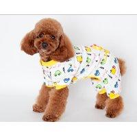 Magideal Pet Dog Puppy Cotton Clothes Soft Pajamas Cartoon Jumpsuit Apparel Yellow M