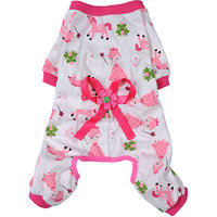 Magideal Pet Dog Puppy Cotton Clothes Soft Pajamas Cartoon Jumpsuit Apparel Pink Xxl