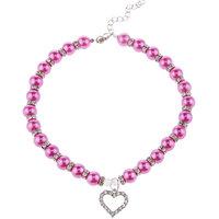 Magideal Pet Dog Cat Pearl Rhinestone Heart Pendant Necklace Collar Necktie Purple S