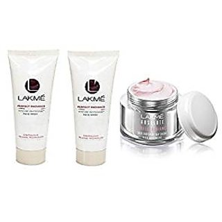 Lakme Perfect Radiance Fairness Day Crme, 50g, Lakme Perfect Intense Whitening Face Wash - 50gm (pack of 2)