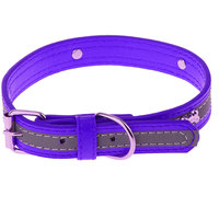 Magideal Pet Puppy Pu Leather Belt Bone Reflective Safety Buckle Dog Collar-Purple