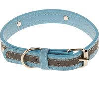 Magideal Pet Puppy Pu Leather Belt Bone Reflective Safety Buckle Dog Collar-Sky Blue