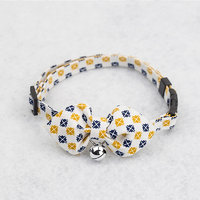 Magideal Pet Dog Cat Tie Collar With Yellow Tartan Design Pointed Bowknot Bell Decor