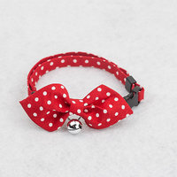 Magideal Pet Dog Cat Tie Collar With White Dot Print Pointed Bowknot Bell Decor- Red