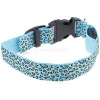 Magideal Leopard Led Collar Pet Dog Puppy Cat Light Night Flashing Safety Blue L