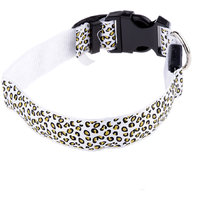 Magideal Leopard Led Collar Pet Dog Puppy Cat Light Night Flashing Safety White S
