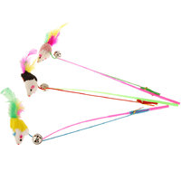 Magideal Colorful Rabbit Hair Mouse Cat Toy Charmer Wand Pole Teaser Makes Pet Fun