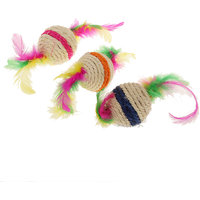 Magideal Pet Cat Kitten Feather Sisal Rope Ball Rattle Scratcher Toy Ball