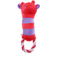 Magideal Pet Dog Puppy Play Soft Plush Cotton Rope Cattle Squeaky Sound Chew Toys Red