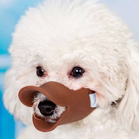 Magideal Adjustable Coffee Silicone Duckbill Muzzle Anti-Bark Mouth Guard For Dog--M