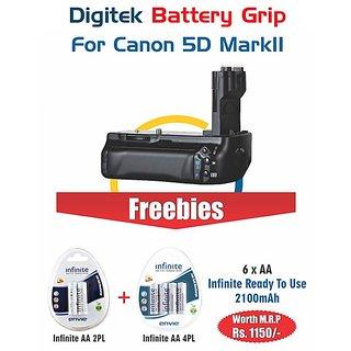 Digitek Battery Grip Canon 5D Mark ii (6 AA infinite 2100mAh worth of 1150)
