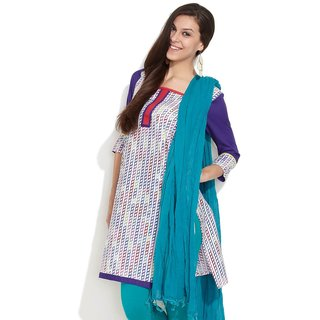 Span Stripes Of Link Chains Printed Kurta (Multi Colour)