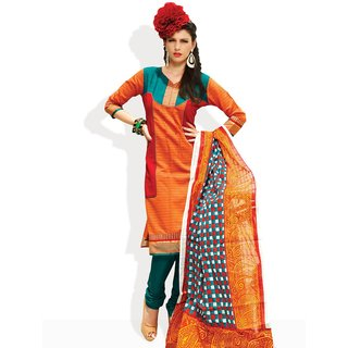 Span Ethnic Style Ready To Stitch Suit (Orange)