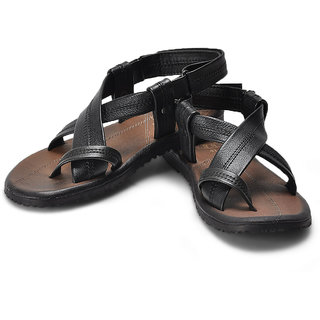 Alberto Torresi Criss-Cross Strappy Leather Sandals (Black)