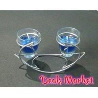 Diwali Decoration  Home Decor Special Cobalt Blue Glass Candle