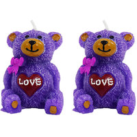 Wax Colorful Sitting Teddy Shaped Candle Diwali Gifts Set Of 2