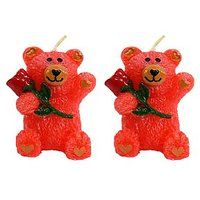 Wax Colorful Teddy Shaped Candle Diwali Gifts Set Of 2 - 99394167