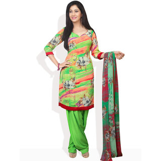 Tamanna Fashions Style Blooms Ready-To-Stitch Suit (Green)