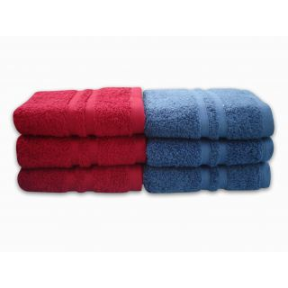 Divine Overseas Premium 6 Pieces Soft  100 Pure Cotton  Hand Towels  - Mehroon  Royal Blue ( SONOMA PERFORMANCE )