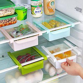2 X Fridge Organizer Freezer Space Saver Shelf Rack Holder Storage Drawer Box