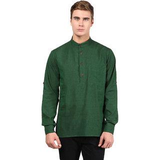 Abhiyuthan Plain Dark Green Casual Short Kurta for Men