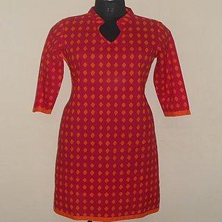624fbd0985 Poorvayashi Dark Pink Kurta With Orange Design available at ShopClues for  Rs.679