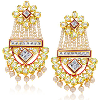 Sukkhi Glistening Gold Plated Kundan Earring For Women